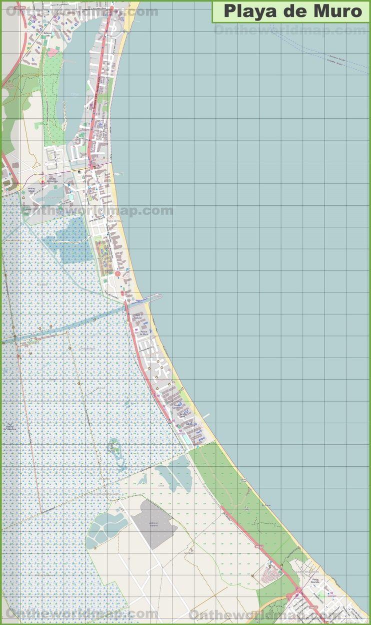 Large detailed map of Playa de Muro Maps Pinterest