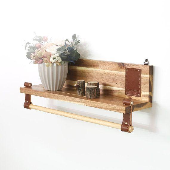 Wood Shelf, Wall shelf, Shelf-Pole, Wood&Leather Shelf, Wall Art, Hanging Shelf, Shelves, Korea, gift, wedding