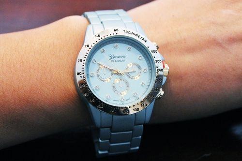 Metallic Aqua Geneva watch