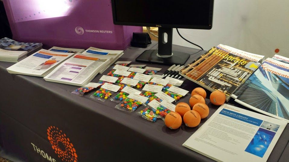 Some of the giveaways at the Thomson Reuters booth  #my15