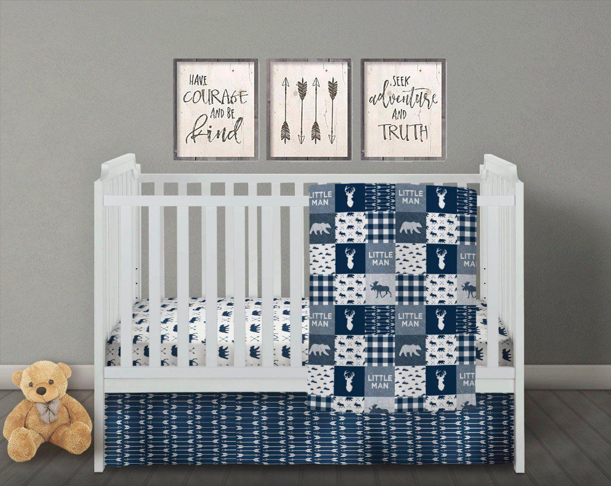 Little Man Bedding Baby Boy Quilt Navy Crib Bedding Set Boy