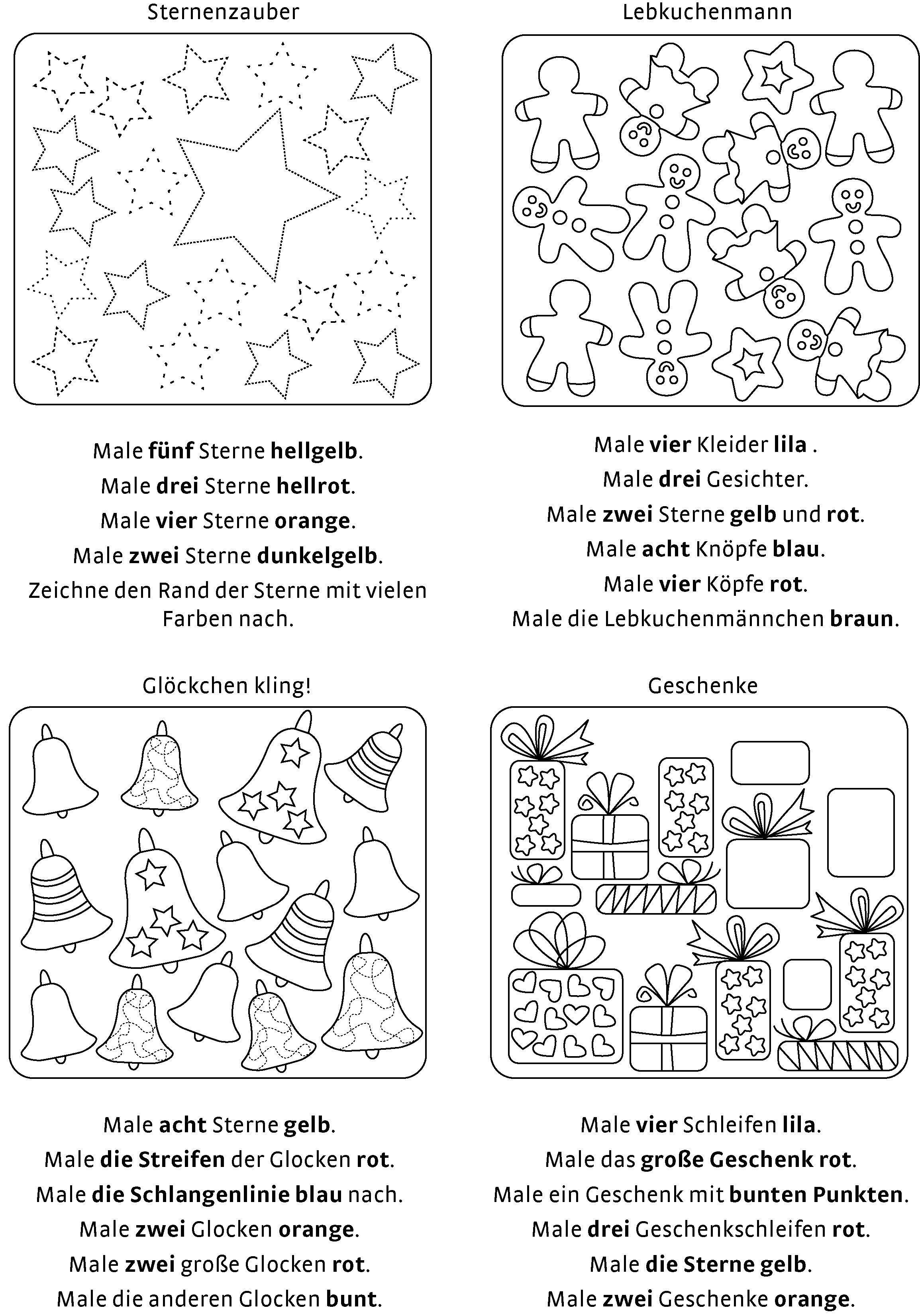 Malen Und Lesen 1 Klasse Weihnachten Lesemalbild Fur Den Adventskalender Erst Leser Ein Ratsel Zum Ausdrucken Vorschule Weihnachten Lesen Lernen 1 Klasse