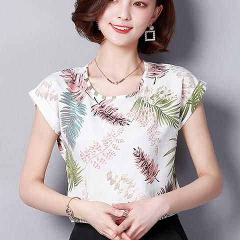 0a0505cb79c294 2018 Women Summer Tops Chiffon Blouses And Shirts Ladies Floral Print Blouse  Short Sleeve Plus Size Tops Casual Blusa Feminina