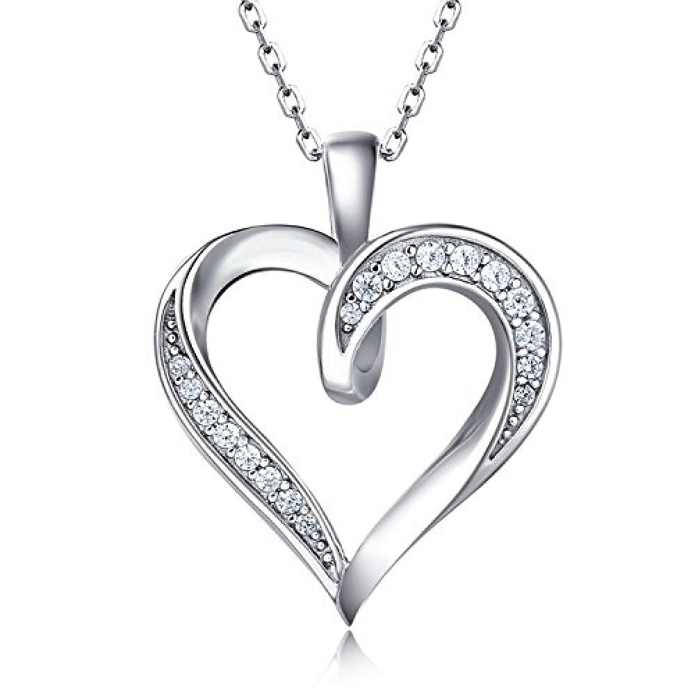 Chain Included 925 Sterling Silver Double Heart Pendant Necklace Design 6
