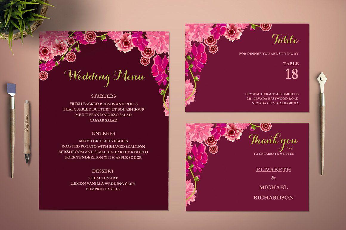 Flower Wedding Invitation Template | Invitation templates, Wedding ...