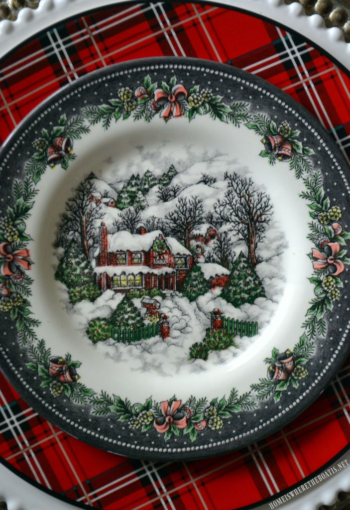 Royal Stafford Christmas Village Plates and Tartan | homeiswheretheboatis.net #tablescape & Reindeer Sleigh Tartan Christmas Table and Centerpiece | Christmas ...