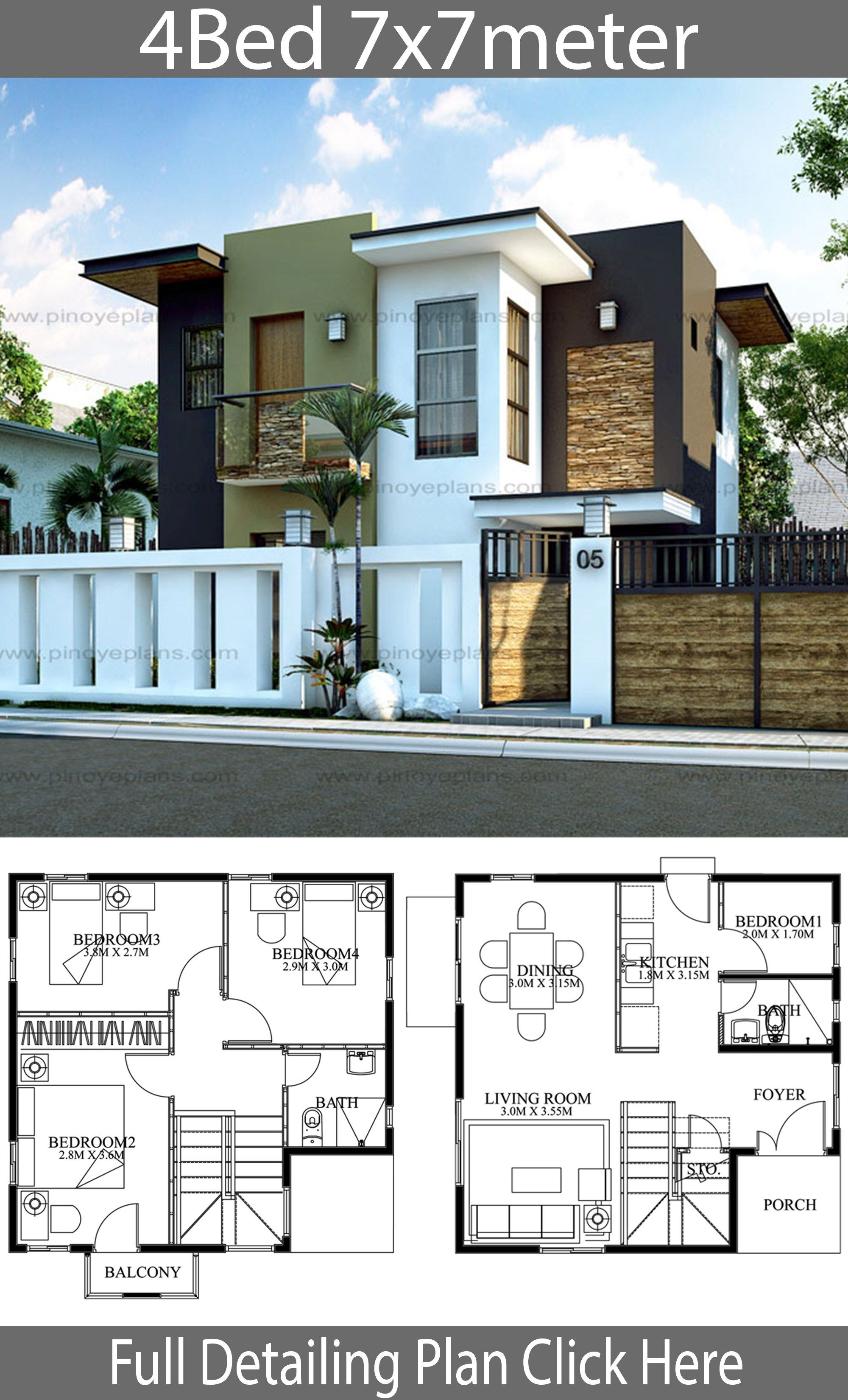 Modern Home Design 7x7m With 4 Bedrooms Style Modern Terrace Slaphouse Description Ground Level Duplex House Design 2 Storey House Design Pool House Designs