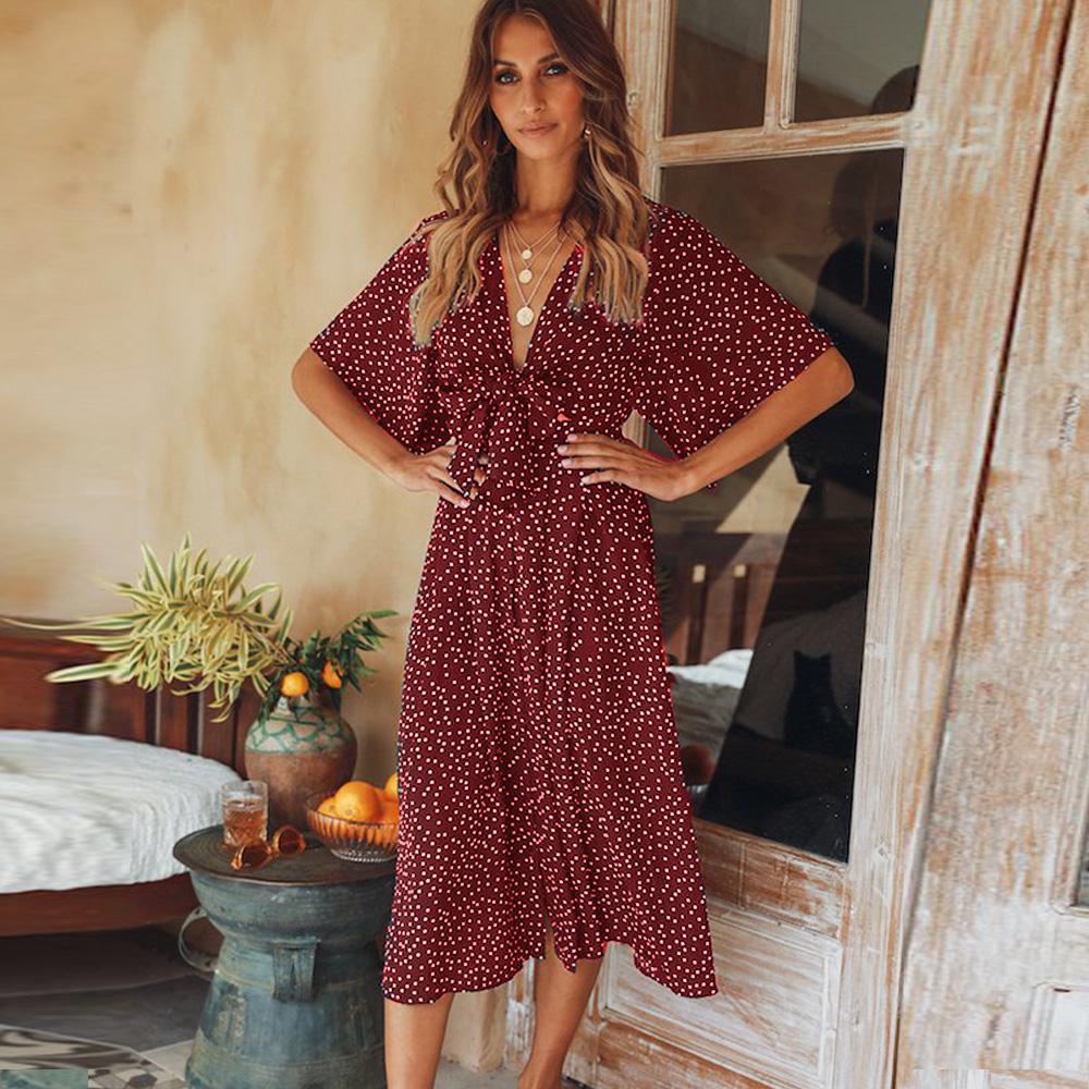 Bohemian Polka Dot V Neck Wrap Midi Dress Bohemian Casual Dress Short Sleeve Dresses Bohemian Dress [ 1000 x 1000 Pixel ]