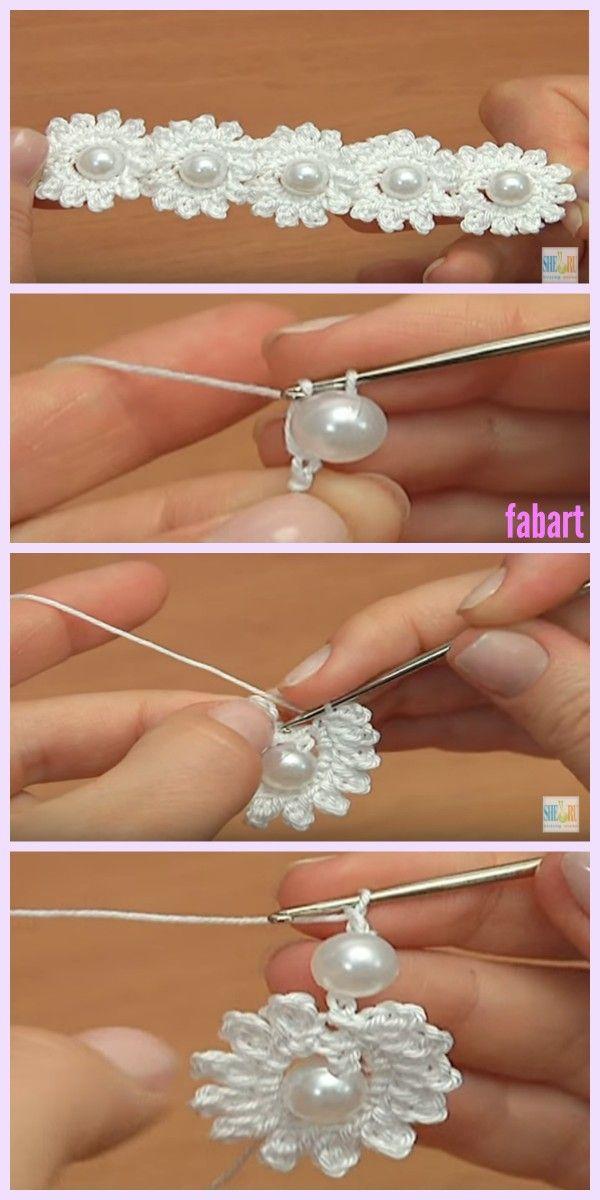 Crochet Mini Bead Flower String Tutorial | Häkeln, Häckeln und ...