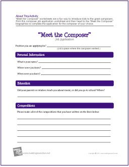 Meet The Composer Job Application Worksheet  Http