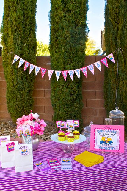 Pink Girls Minion Birthday Party Essentials by PrettyLilPartiesLV