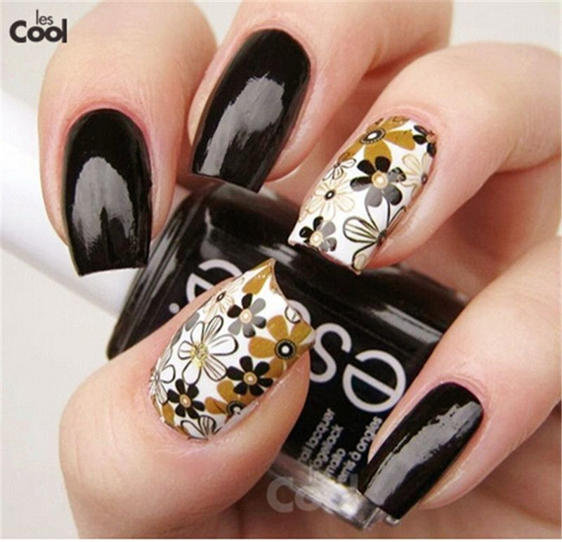 1 Sheet Beautiful Flowers Full Wraps Nail Art Water Transfer Foils ...