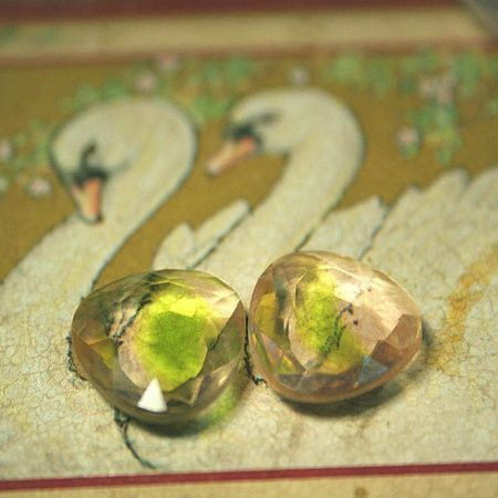 Czech stones, Rose and Green VINTAGE glass faceted, unused factory stock