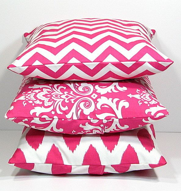 Hot PINK Pillows Decorative Pillows TRIO Chevron, Damask, Ikat Set Of THREE  18x18 Inch