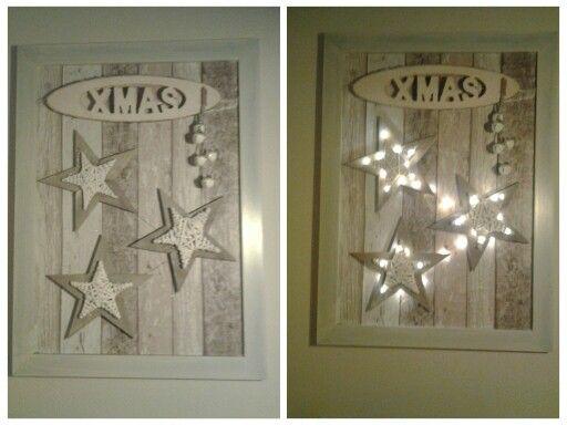 Oude schilderijlijst voorzien van tafelzeil sterren op kurken verlijmd voor de afstand op het - Deco schilderij slaapkamer kind ...