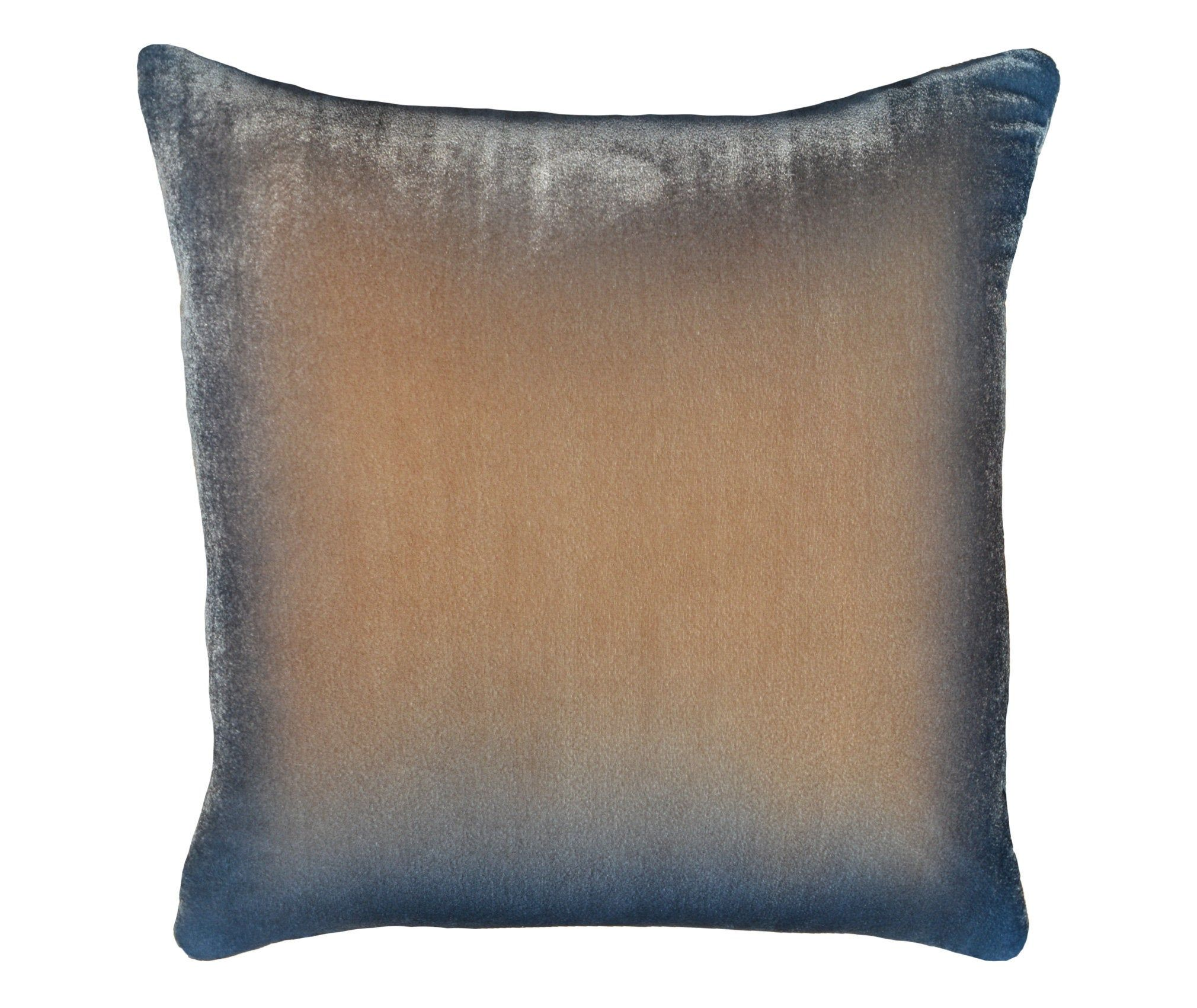 Ombre Velvet Pillow 19 X 19 Cover Hand Painted Silk Velvet Beige To Blue Ombre Velvet Throw Pillow For Sofa Luxury Handmade By Fabric17 Throw Pillows Velvet Throw Pillows Velvet Pillows