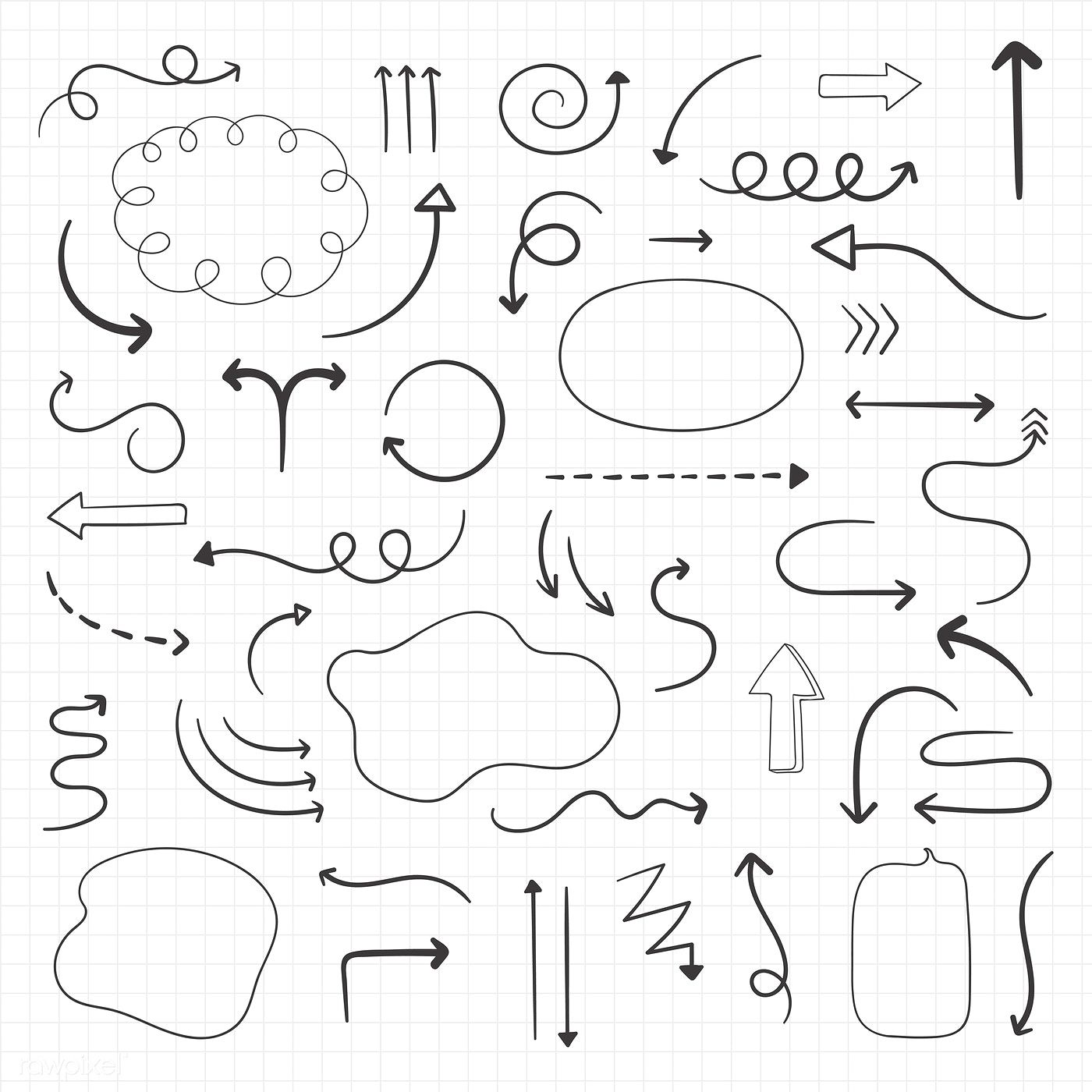 Download premium vector of Arrow and speech bubble doodle