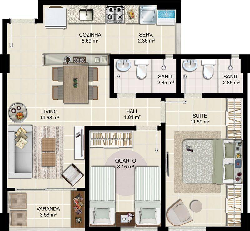 Super Casa pequena de 2 quartos com 1 suite e um banheiro social | 2  CB23