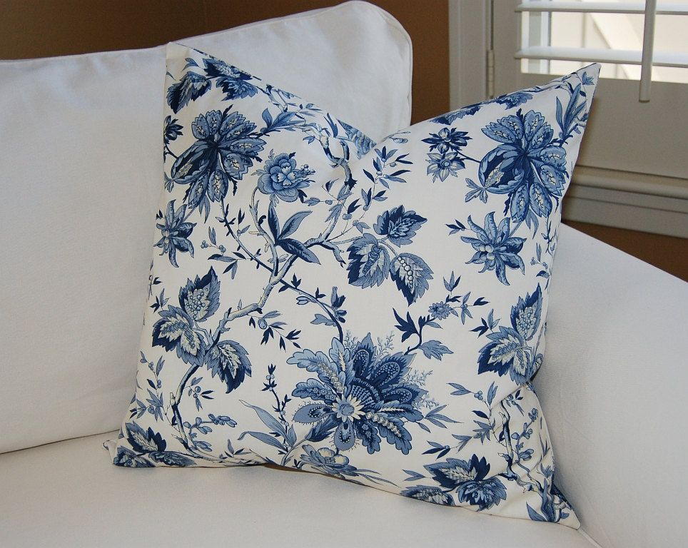 Designer Floral Pillow Cover / 20 X 20 / Waverly Blue