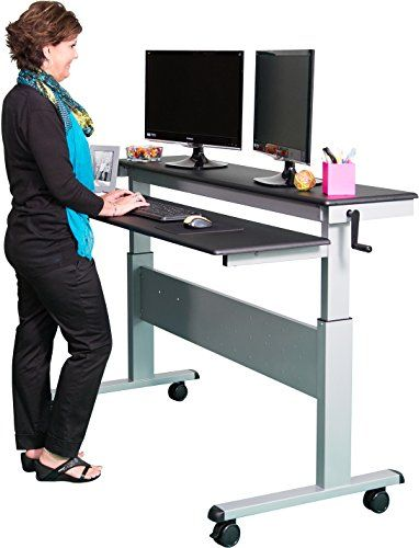 60 crank adjustable height sit to stand up desk with heavy duty steel frame