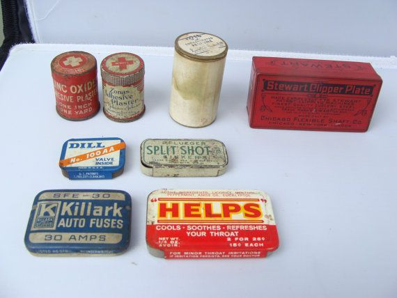 LOT OF 8 Vintage ECLECTIC Collection of Miniature Medical Tins, Grooming Tins, Automotive Tins, Fishing Tins #miniaturemedical LOT OF 8 Vintage ECLECTIC Collection of Miniature by saffaron #miniaturemedical LOT OF 8 Vintage ECLECTIC Collection of Miniature Medical Tins, Grooming Tins, Automotive Tins, Fishing Tins #miniaturemedical LOT OF 8 Vintage ECLECTIC Collection of Miniature by saffaron #miniaturemedical