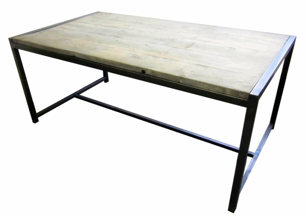 Ijzeren Onderstel Tafel : Stoer metaal tafel met ijzeren onderstel en steigerhouten blad