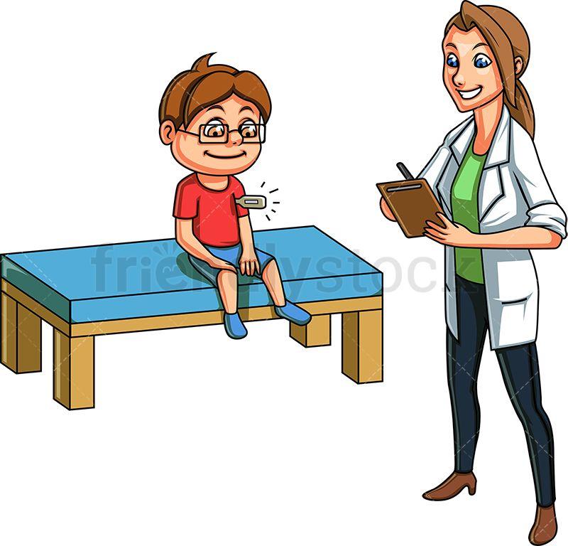 Doctor Taking Kid S Temperature Cartoon Vector Clipart Friendlystock Cartoons Vector Cartoon Clip Art Cartoon