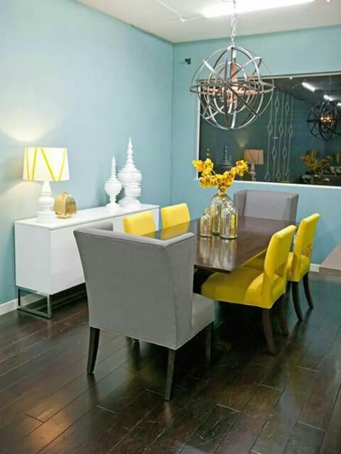 Azul Amarillo Y Gris Yellow Dining Room Dining Room Colors Dining Room Blue