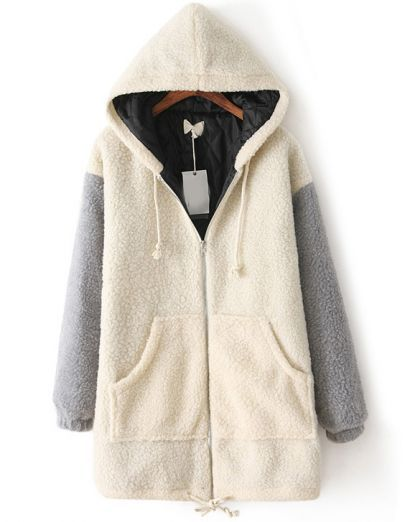 6a56766796 Beige Hooded Long Sleeve Pockets Loose Coat - Sheinside.com | wish ...