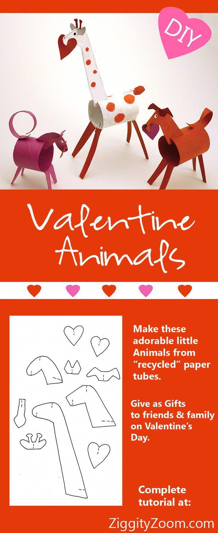DIY Valentine Animals Valentines diy, Valentine crafts