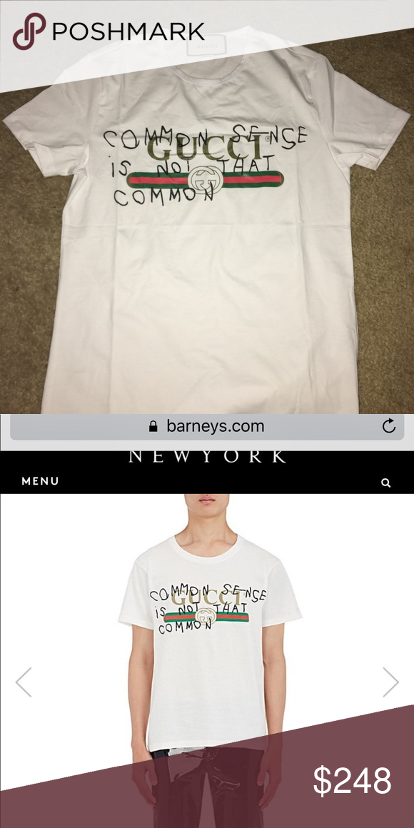 25defd71b Gucci men shirt Gucci men large shirt common sense is not common bought  from barneys size large in great condition 💪🏽 Gucci Shirts Tees - Short  Sleeve