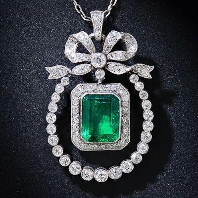 Edwardian Emerald and Diamond Pendant Necklace