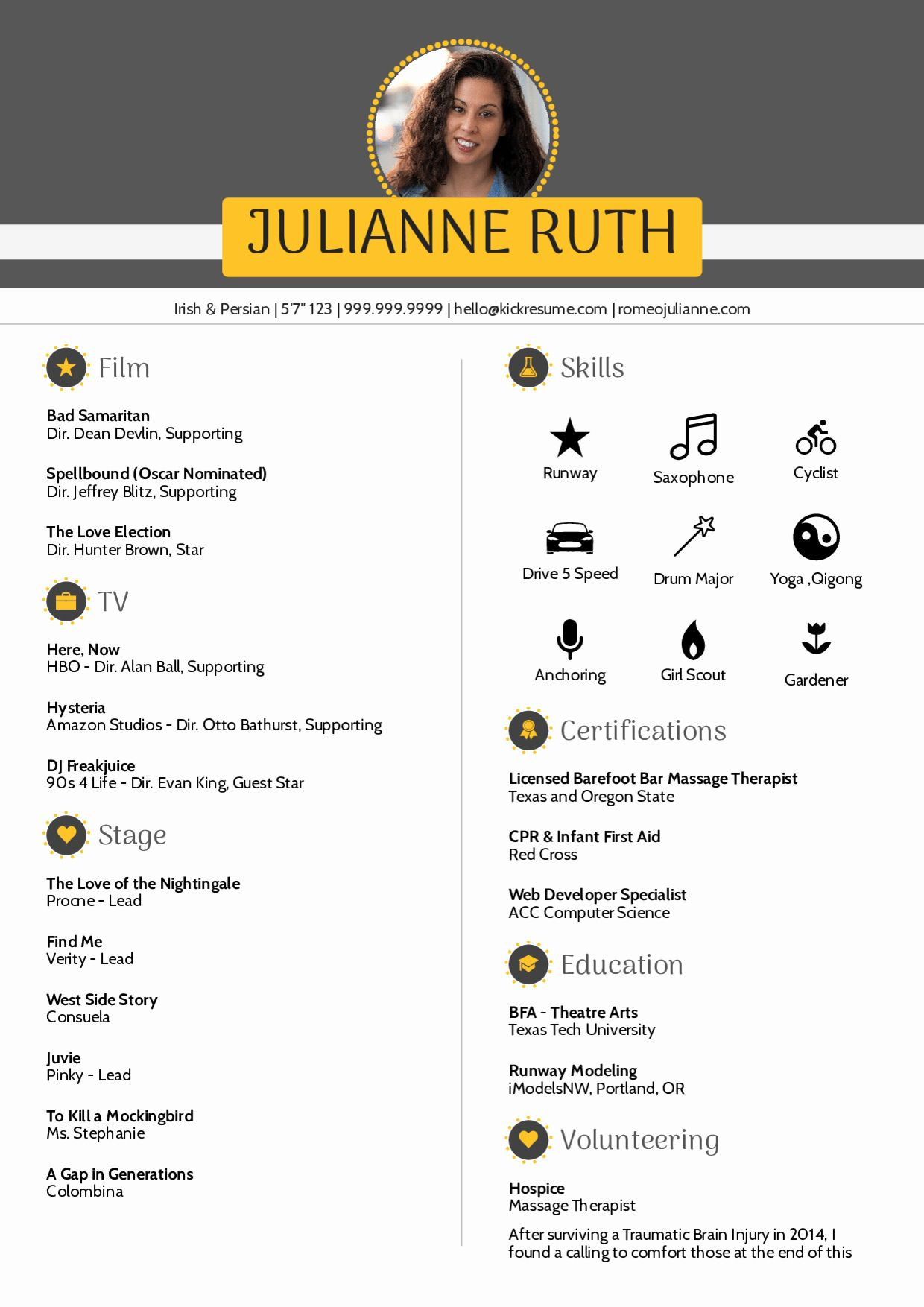 25 Resume Template with Picture in 2020 Acting resume