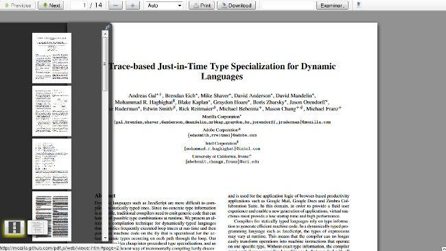 Firefox 14 (versión nightly) incluye un lector de PDF http://www.genbeta.com/p/68117