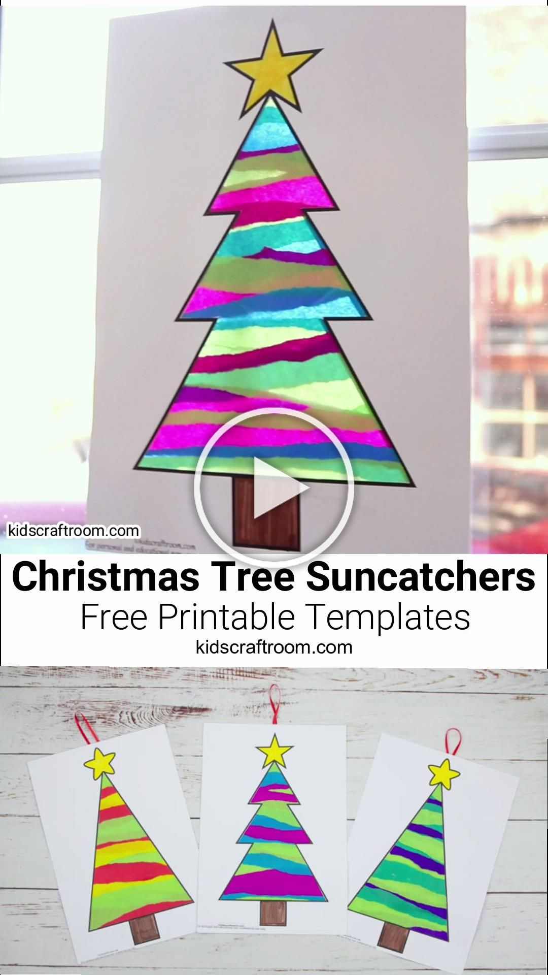 This Tissue Paper Christmas Tree Suncatcher Craft is such a pretty Christmas craft for kids. Easy to make with the free printable templates and layers of torn tissue paper. When the light shines through them the colours look amazing, like stained glass! A lovely Christmas suncatcher craft for little and big kids with lots of fun paper tearing to build fine motor skills. #kidscraftroom #Christmascrafts #christmas #suncatchers #suncatcher #christmastree #papercrafts #tissuepaper #kidscrafts