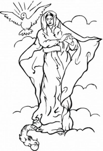 Feast Of The Assumption Catholic Coloring Page Assumption Of
