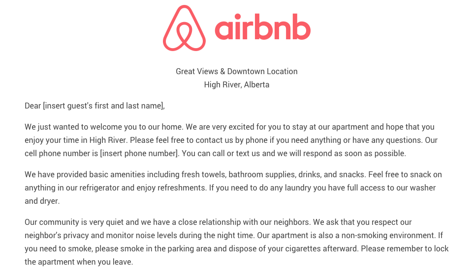 Download the airbnb welcome letter template as airbnb for Rental house rules template