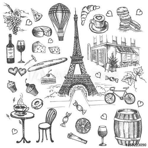 Set of hand drawn French icons Paris sketch illustration wall mural