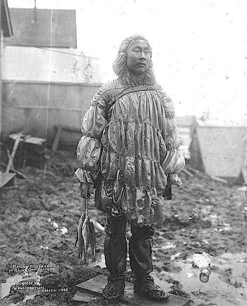 NORTHLANDS: Inuit man wearing a sea lion gut parka. Nome, Alaska; ca. 1900