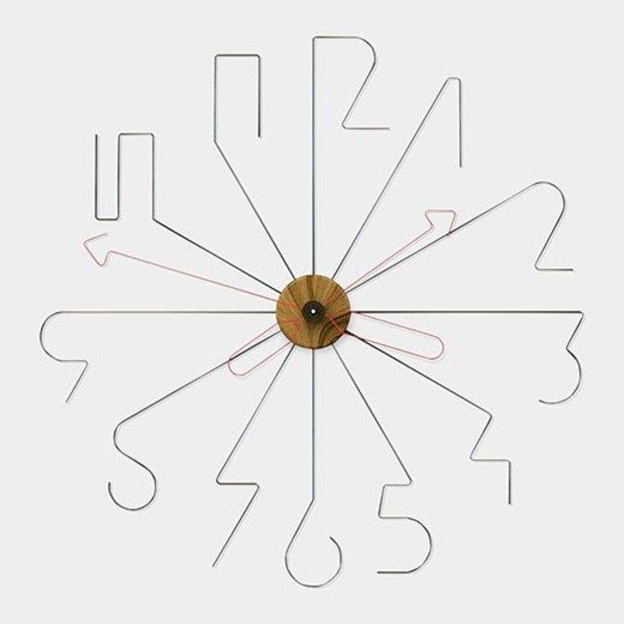 wanduhren-modern-zifferblatt-aus-metall-rote-zeiger-holz-weisse-wand