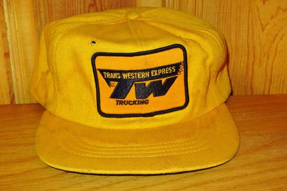 ee4c29ad3a5 TRANS WESTERN EXPRESS Trucking Defunct Vintage 80s Yellow Trucker ...