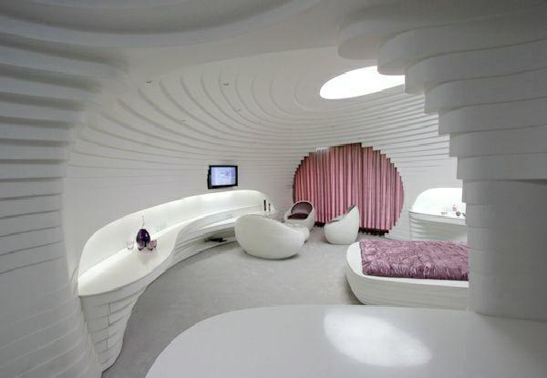 Futuristische Schlafzimmer Designs Organisch Geschwungen In Weiß Und Rosa