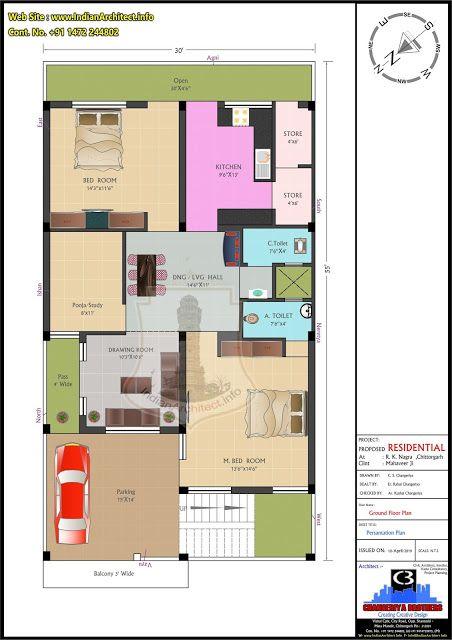 P507 2BHK West Facing House Plan Mr Mahaveer Ji 30 x55 =1650 Sqft