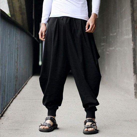 Men/'s Hippy Pants Casual Loose Harem Baggy Hakama Trousers Japanese Style