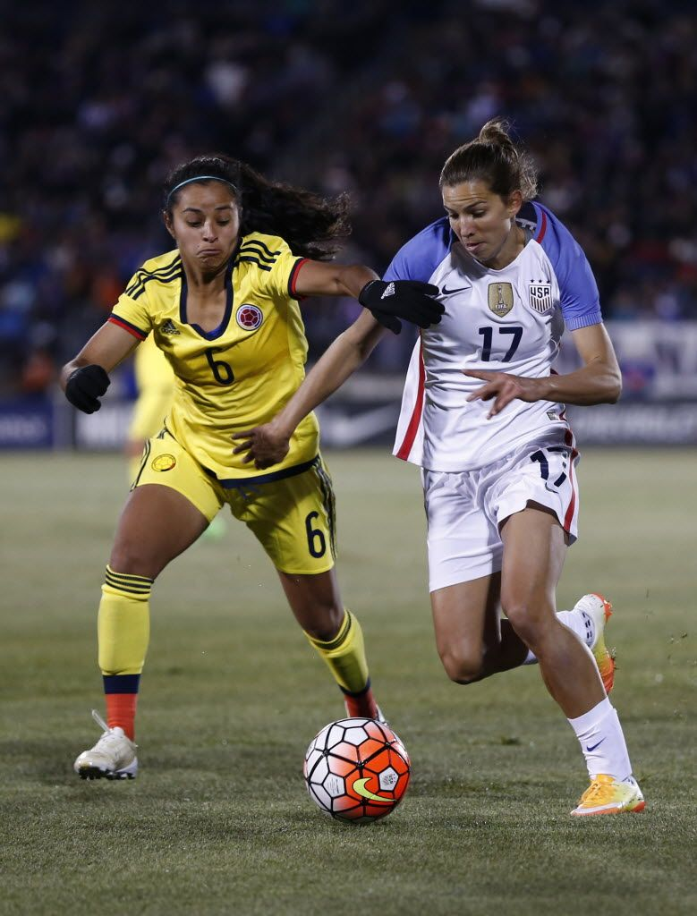 bb1e67af0f0 Tobin Heath and Liana Salazar of Colombia