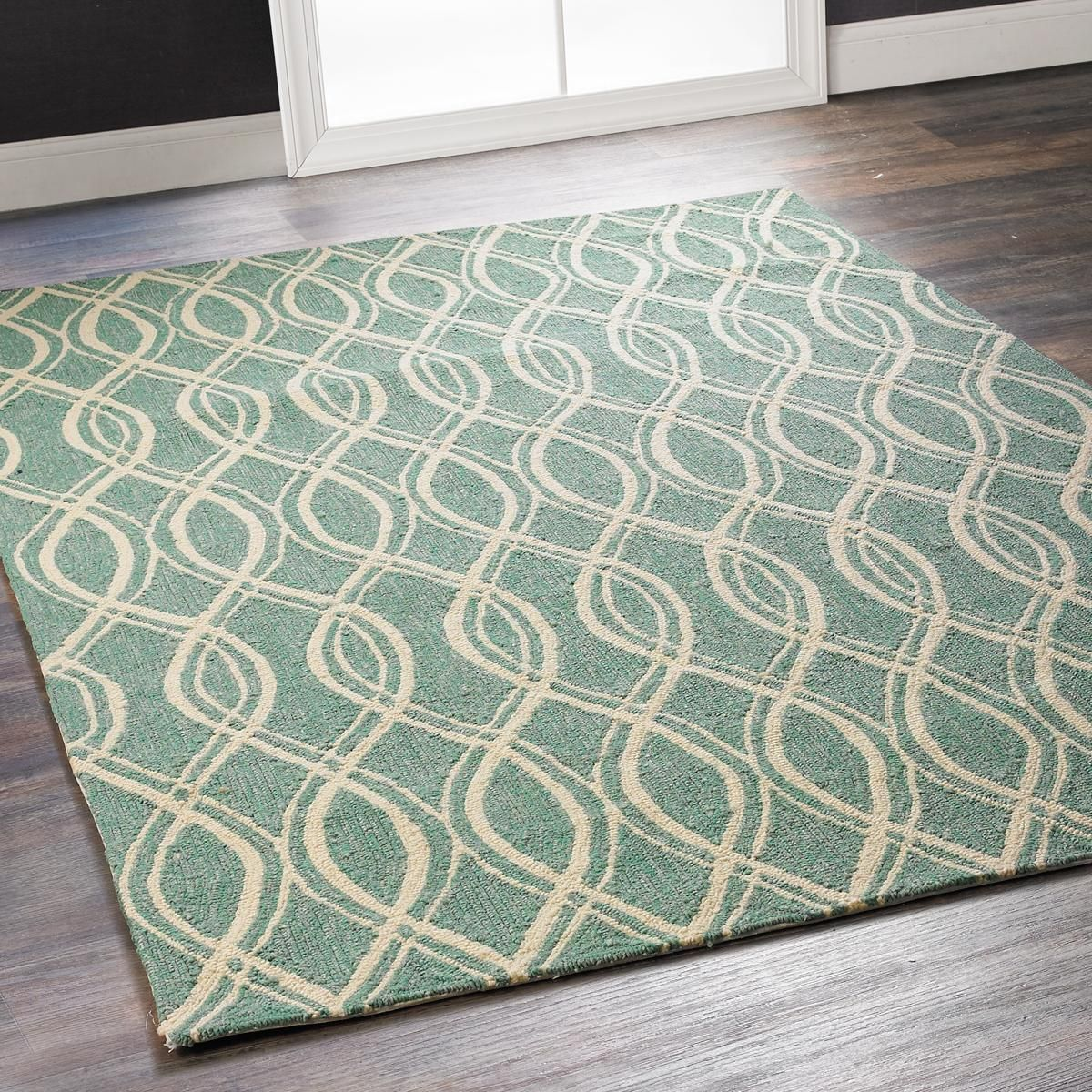 Aqua Oval Lattice Indoor Outdoor Rug N Soothing Tones Of And Ivory This Graceful