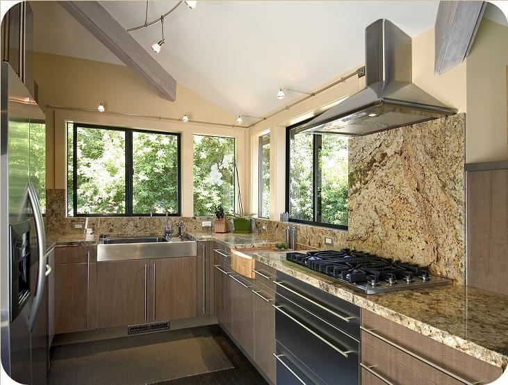 Juparana Persa Granite Kitchen Countertops featuring full height ...