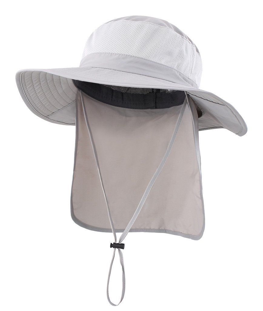 7e3e580857e Men Golf Clothing - Home Prefer Mens Sun Hat with Flap Summer Neck Cover  Foldable Fishing Cap Wide Brim Sun Protection Hat Light Gray