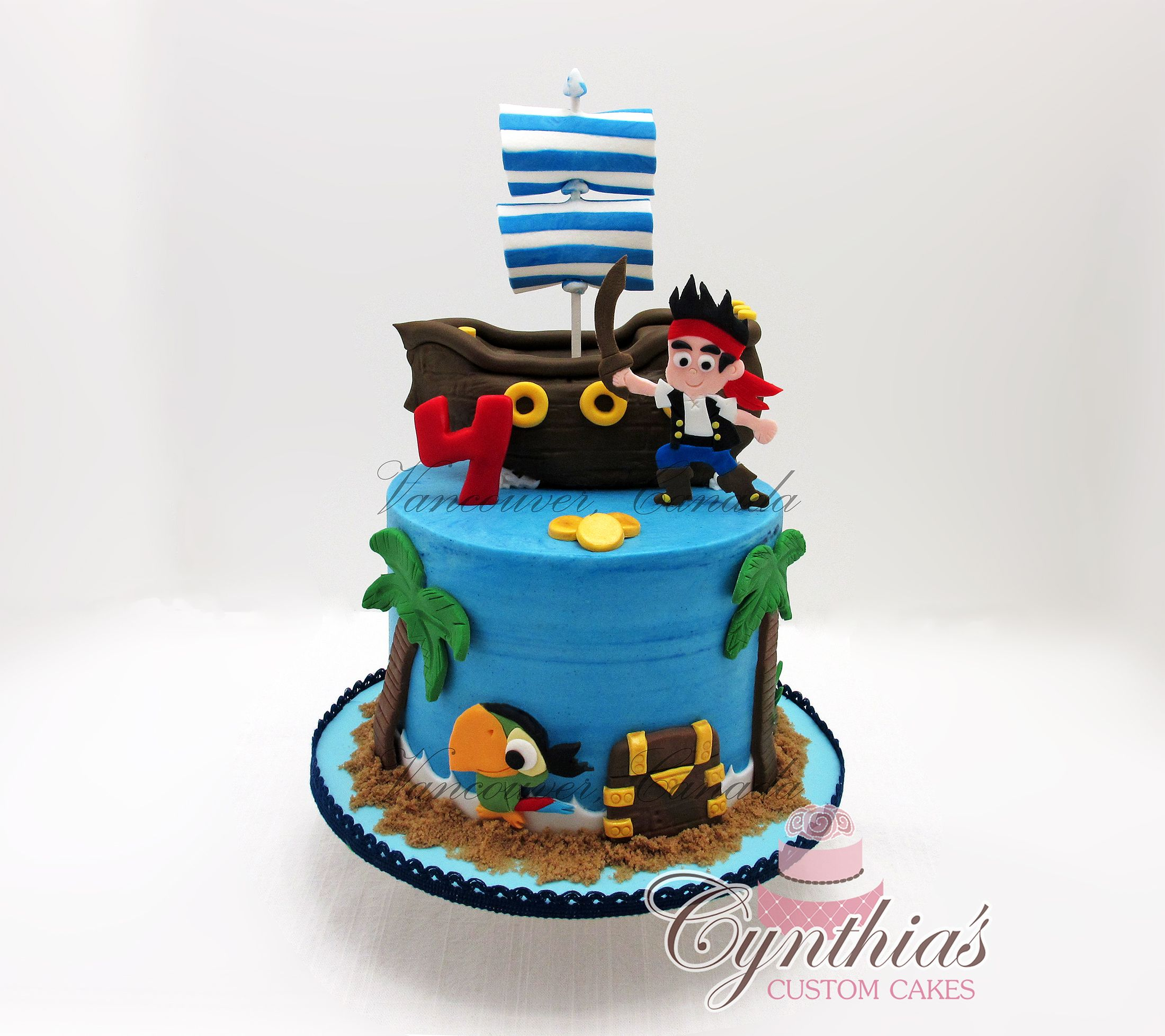 Cake ideas on pinterest pirate cakes marshmallow fondant and - Jake And The Neverland Pirates Cake Buttercream With Fondant Details And Fondant Custom Made 2d