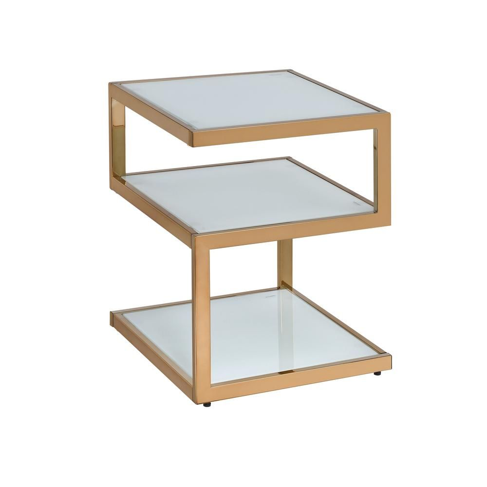 Venetian Worldwide Alyea Gold With Frosted Glass End Table Gold Finish End Tables Metal End Tables Glass End Tables